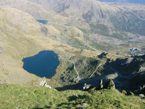 Looking down on Low Water and the path up to the Old Man through the quarries, the usual approach from Coniston