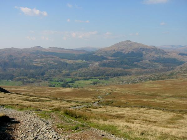 The Walna Scar Road leading back down into the Duddon Valley and Harter Fell