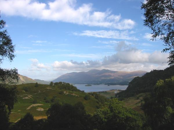 Derwent Water and Skiddaw from the ascent through the wood