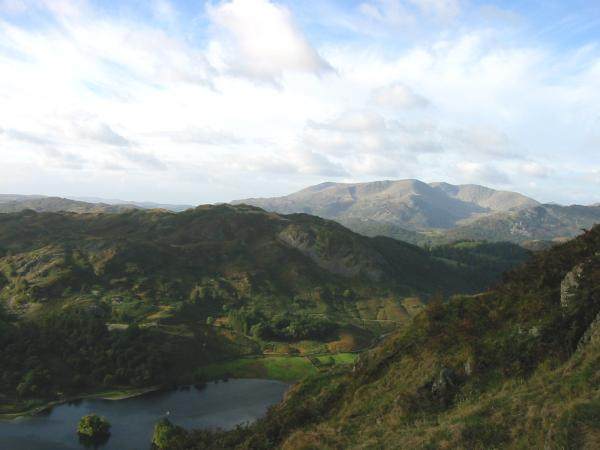 Rydal Water, Loughrigg Fell and the Coniston Fells from the ascent of Nab Scar