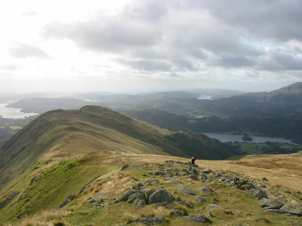 Looking back down the ridge to Heron Pike from the ascent of Great Rigg with Windermere, Esthwaite Water, Coniston Water and Grasmere all in view