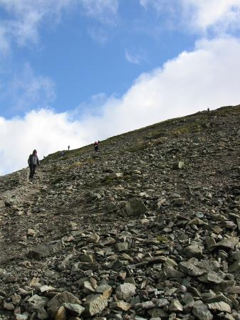 Looking back up the steep descent off Fairfield