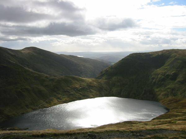 Great Rigg, Grisedale Tarn and Seat Sandal from the ascent of Dollywaggon Pike