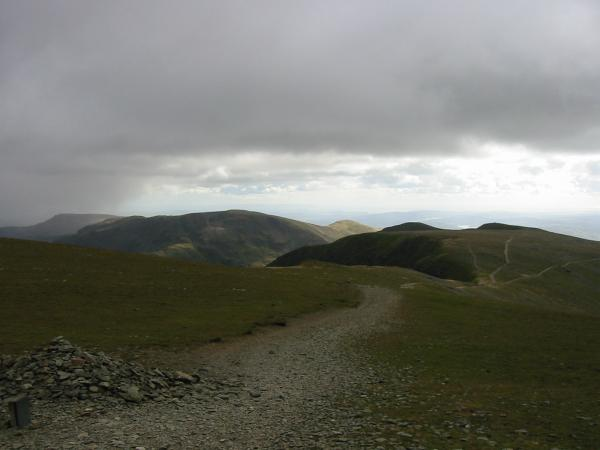 Looking back south from near Helvellyn's summit