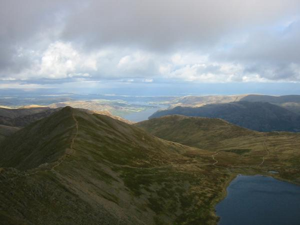 Catstycam and Red Tarn with Ullswater in the distance