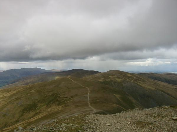 The ridge north from Helvellyn Lower Man with the clear path up White Side, our next top