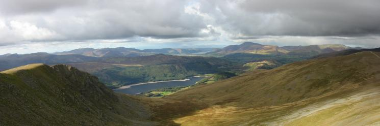 Browncove Crags, Thirlmere and Skiddaw from Lower Man