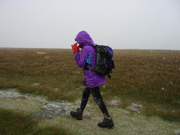 We were caught by a horizontal sleet shower on Watson's Dodd