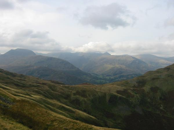 Boredale Hause, Saint Sunday Crag and Helvellyn with its top in cloud