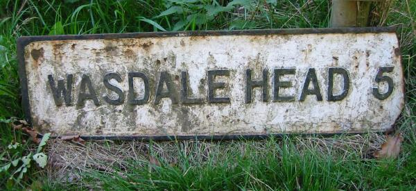 Old sign on the path out of Boot 'Wasdale Head 5'