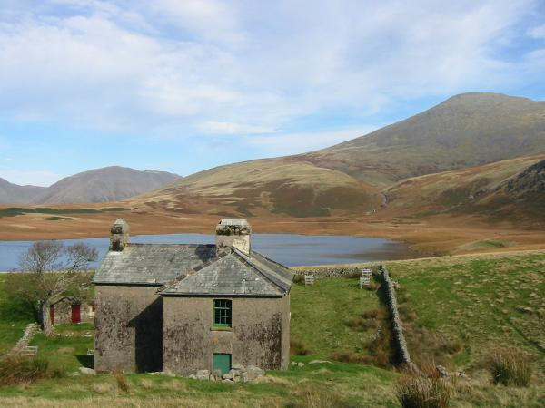 Kirk Fell and Scafell from Burnmoor Lodge and Tarn