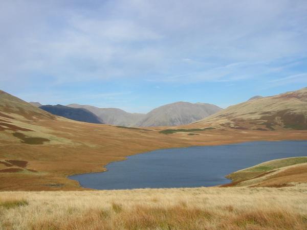 Burnmoor Tarn with Red Pike, Yewbarrow (in shadow), Pillar, Kirk Fell and the top of Great Gable