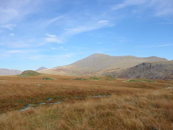 Looking back to Boat How with Kirk Fell, Great Gable, Scafell, Slight Side and the crags on Great How