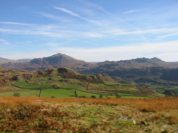 Looking over Great Barrow to Harter Fell and Crook Crag