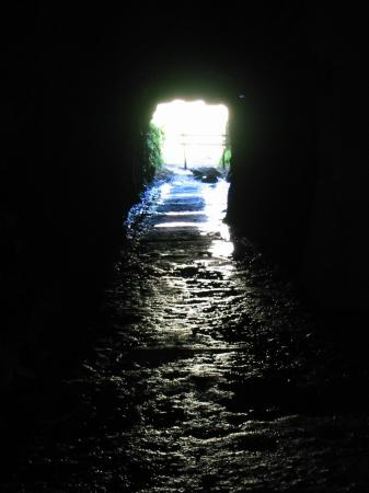 Looking out of the tunnel entrance to Cathedral Quarry