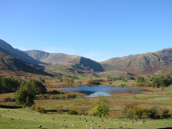 Little Langdale Tarn. The low point on the skyline is Wrynose Pass
