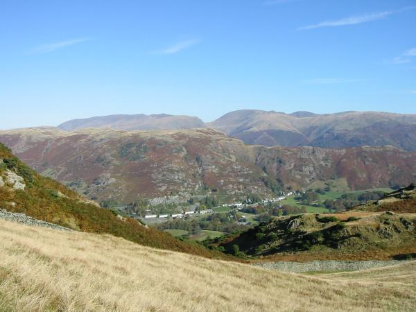 Chapel Stile with Silver How behind and the Helvellyn and Fairfield fells on the skyline