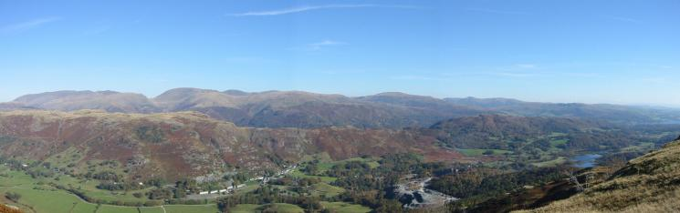 Skyline: Helvellyn range, Fairfield horseshoe, Red Screes and the Ill Bell ridge. The near ridge is Silver How leading to Loughrigg Fell