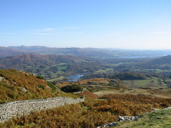 Elter Water and Windermere from Lingmoor Fell