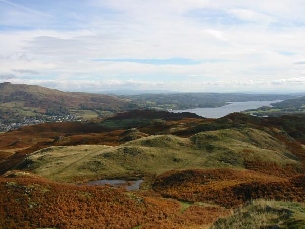 Wansfell Pike, far left, with Ambleside below and Windermere