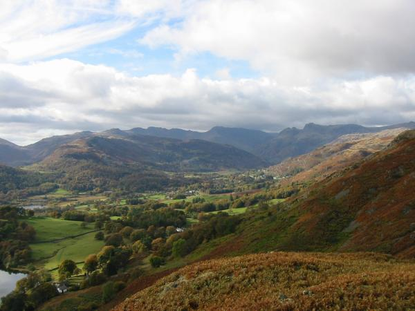 Lingmoor Fell with Pike O' Blisco, Crinkle Crags, Bowfell and the Langdale Pikes on the skyline