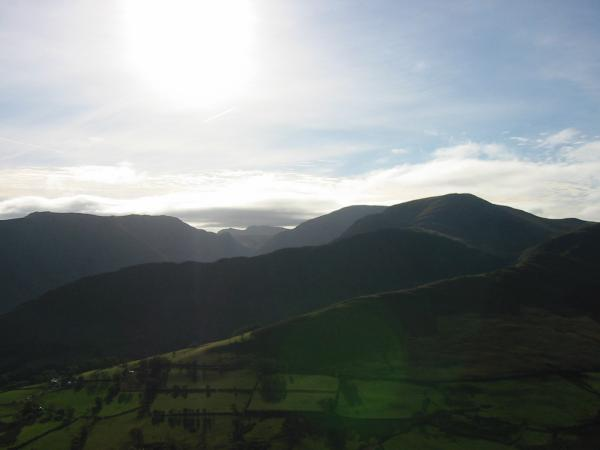 Looking into the sun. High Spy, Dale Head, Hindscarth and High Snab Bank
