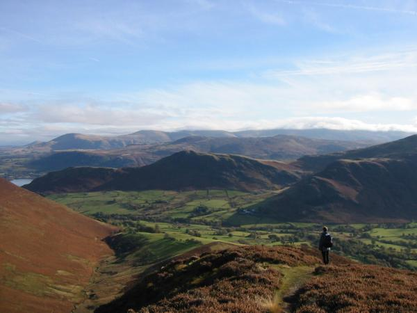 Catbells with cloud covering the top of the Helvellyn ridge beyond