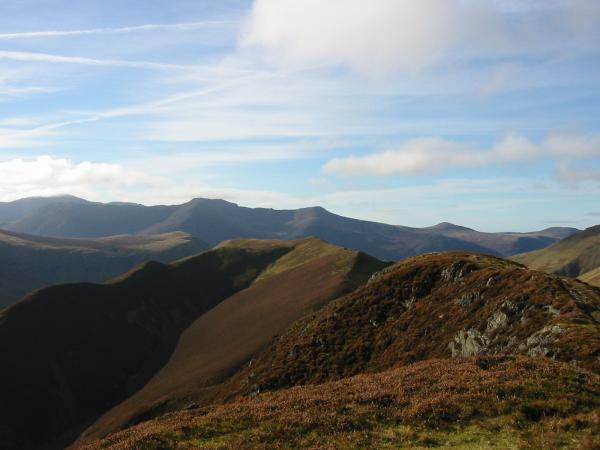 Looking over Knott Rigg to Pillar in cloud with High Crag in front, High Stile, Red Pike, Starling Dodd and Great Borne