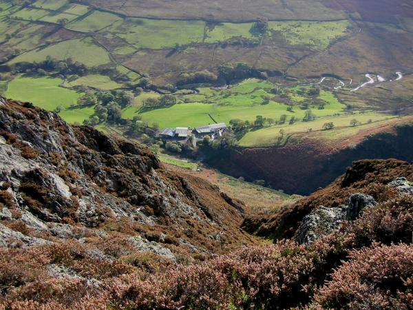 Looking down to Keskadale Farm from Ard Crags