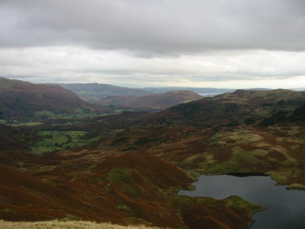 Looking southeast to Grasmere with Windermere in the distance