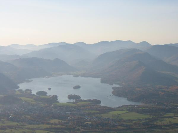 Zooming in on Derwent Water and Keswick from Little Man