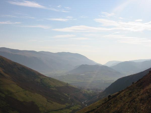 The Helvellyn ridge and High Rigg from above Glenderaterra valley