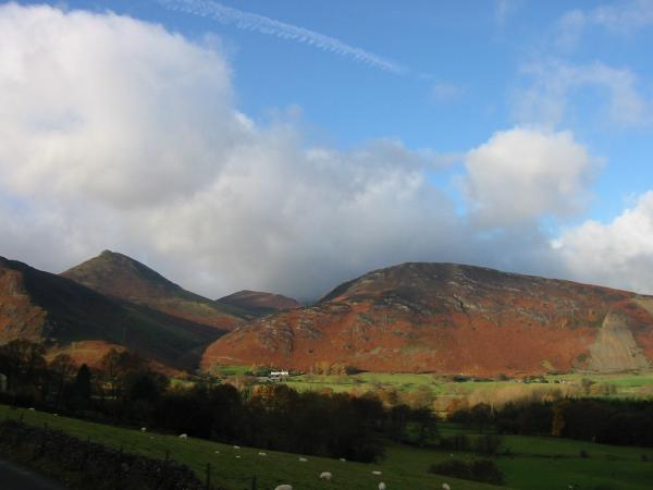 Causey Pike, Outerside and Barrow from the road at Hawes End