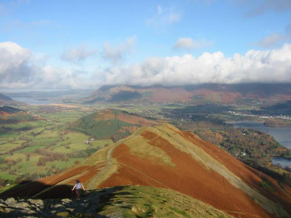 Looking back down Catbells north ridge from the summit