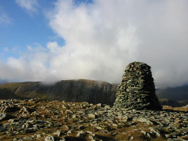 Hindscarth from High Spy's impressive summit cairn