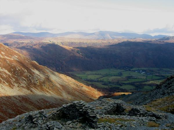 The Helvellyn ridge from the descent through Rigghead Quarries