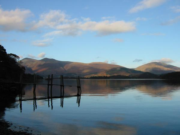 Skiddaw and Blencathra from Low Brandelhow landing stage