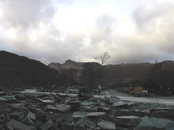 The Langdale Pikes from Elterwater's operational quarry