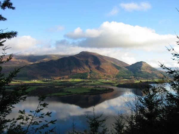 Looking across Bassenthwaite Lake to the Skiddaw fells from in Wythop Woods