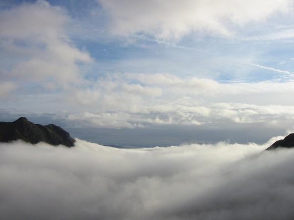 Great Langdale cloud inversion with the Langdale Pikes on the left from the zig-zags up Rossett Gill