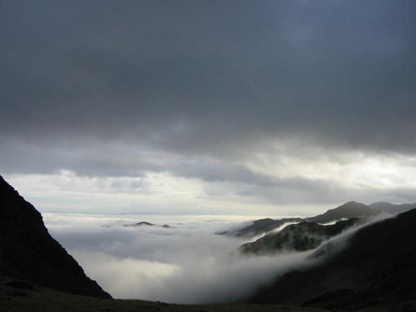 The cloud inversion from the head of Rossett Gill