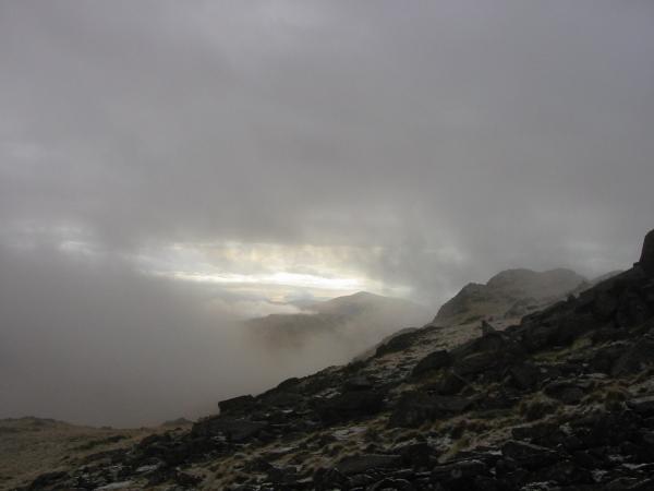 Harter Fell, Eskdale through a break in the clouds