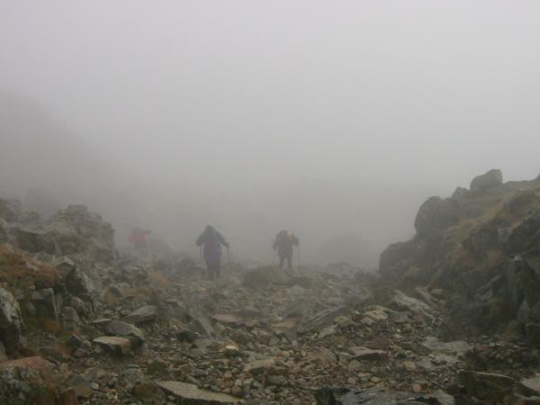 The route down to Three Tarns
