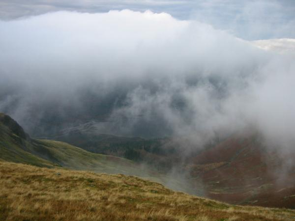 Looking down through the cloud to Thirlmere