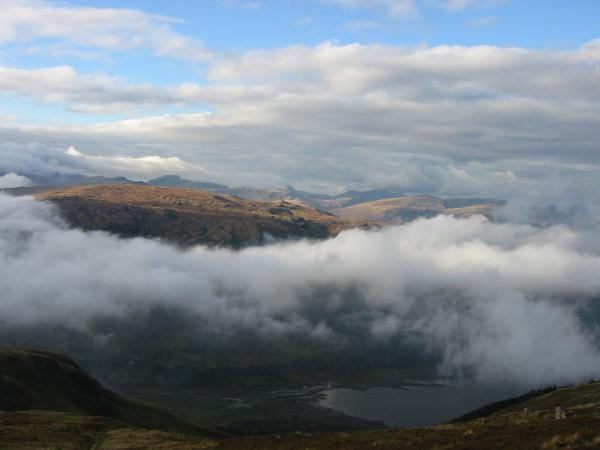 The view west from higher up with Great Gable seen above the mass of Ullscarf