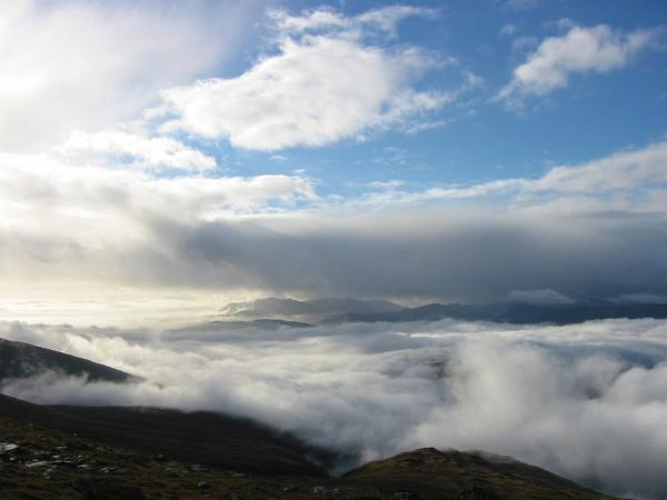 The Coniston Fells in a sea of cloud to the south west