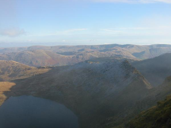 Red Tarn and Striding Edge with the High Street ridge in the distance