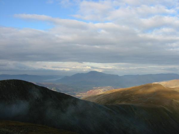 Helvellyn Lower Man and White Side with Skiddaw in the distance