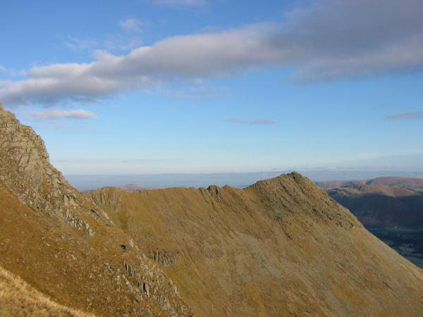 Striding Edge from the col between Helvellyn and Nethermost Pike