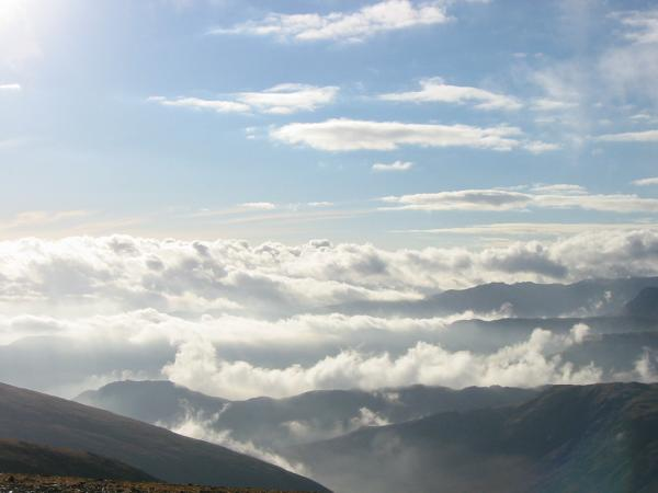 Cloud to the south west. Helm Crag is the peak on the left